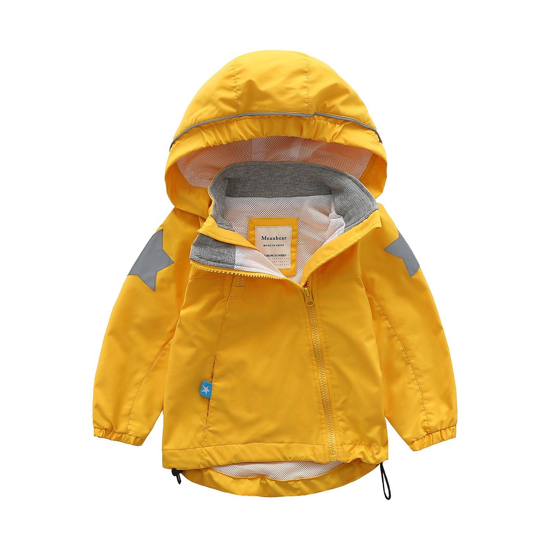 Meanbear Boys & Girls Hooded Cotton Lined Jacket Children's Outdoor Light Windbreaker Kids Rain Jacket Yellow Color (2T)