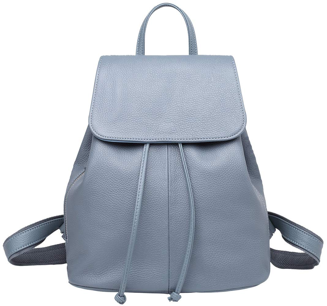 Genuine Leather Backpack for Women Elegant Ladies Travel School Shoulder Bag Light Blue by BOYATU