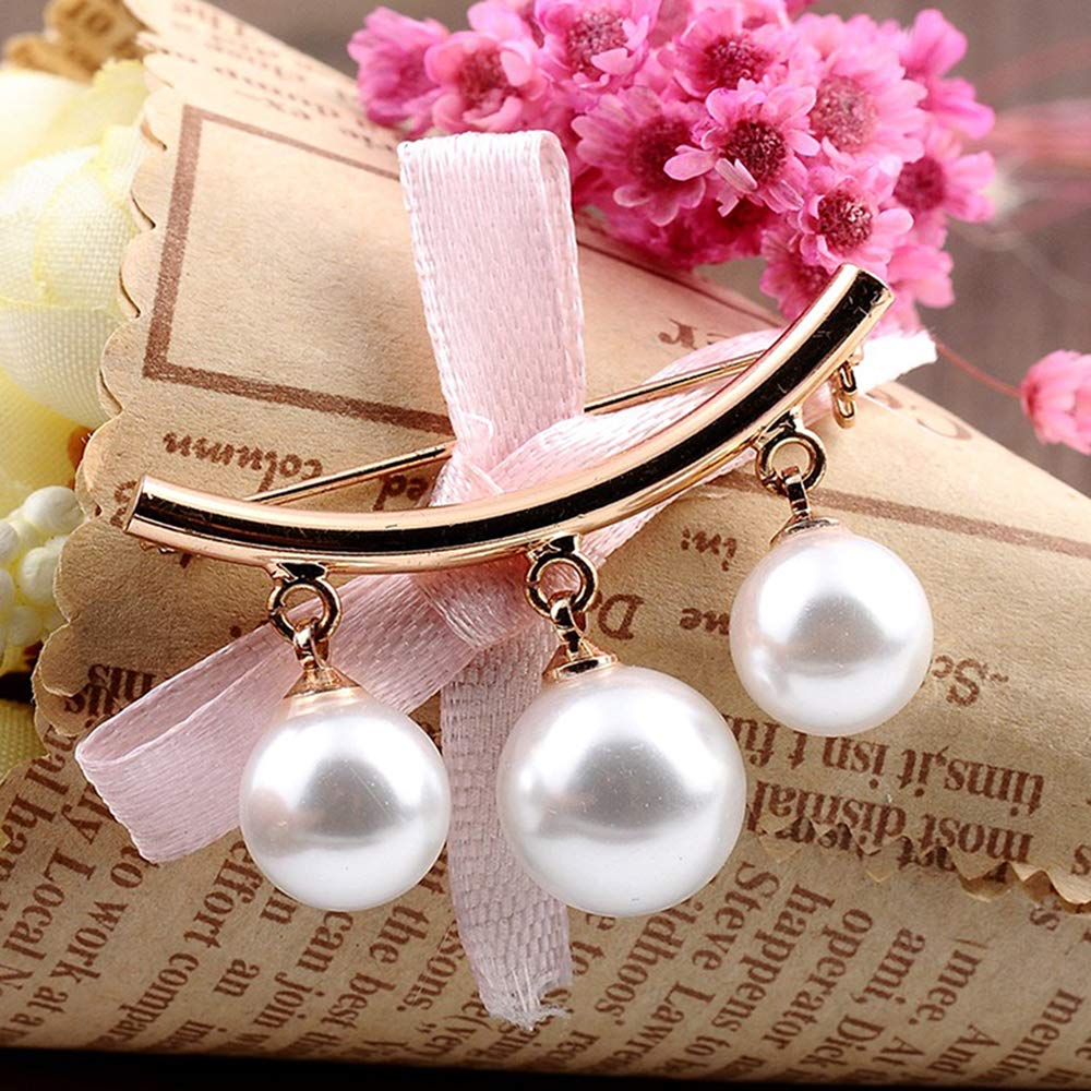Jurxy Arc Faux Pearl Brooch Pins Safety Pin Pendant Style for Sweater Shawl Scarves Coat Hat Decorations Ornaments Gifts Silver and Gold
