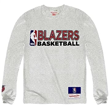 Mitchell & Ness Trail Blazers Portland equipo issued NBA camiseta de manga larga colour gris gris