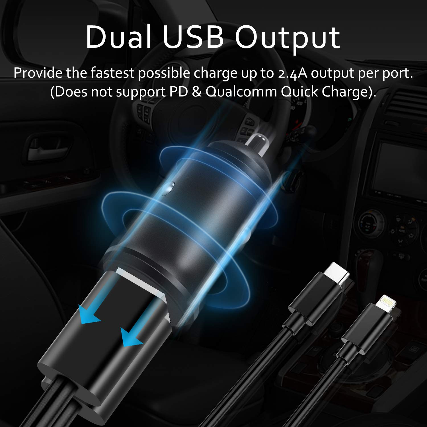 Samsung Car Charger 2-Pack USB Car Adapter Phone Chargers with 12V-24V Input Fast Charging Intelligent Power 5V//4.8A Dual Port Car Charger Compatible with iPhone Huawei and More iPad
