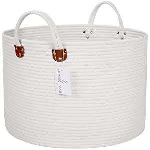 """XXL Woven Cotton Rope Laundry Basket 20"""" x 20"""" x 13.3"""" 