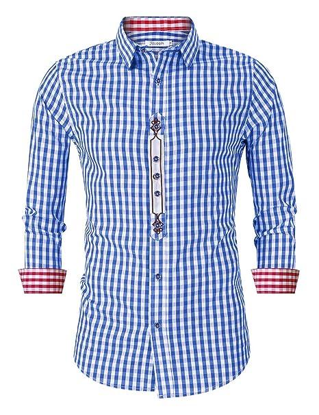 KOJOOIN Camisa Hombre Manga Larga Tradicional Camisa para Fiesta Oktoberfest