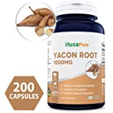 BEST Yacon Root Extract 1000mg serving 200 Capsules (NON-GMO & Gluten Free) - Raw Natural Prebiotic & Probiotic, Rich in FOS - Healthy Digestion & Weight Loss - 100% Money Back Guarantee