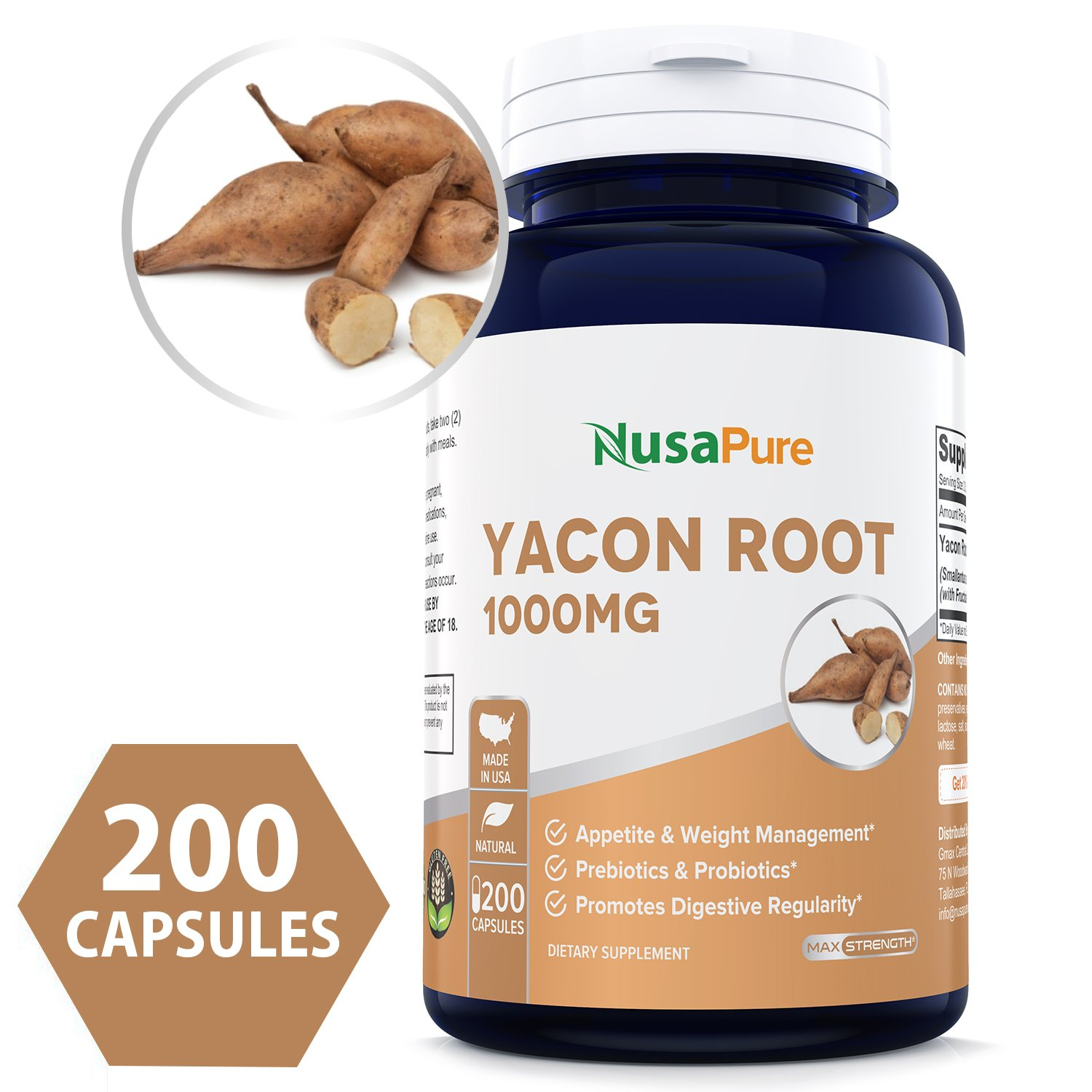 Yacon Root Extract 1000mg Serving 200 Capsules (Non-GMO & Gluten Free) - Raw Natural Prebiotic & Probiotic, Rich in FOS - Healthy Digestion & Weight Loss by NusaPure