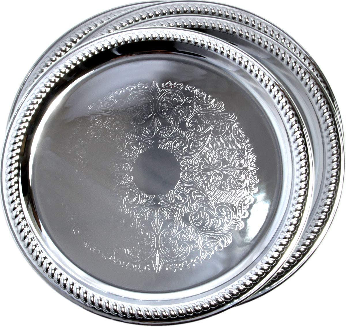 Maro Megastore (Pack of 4) 14-Inch Traditional Round Floral Pattern Engraved Catering Chrome Plated Serving Tray Mirror Plate Silver Metal Platter Tableware Wedding Birthday (Extra Large) T139-14-4pk