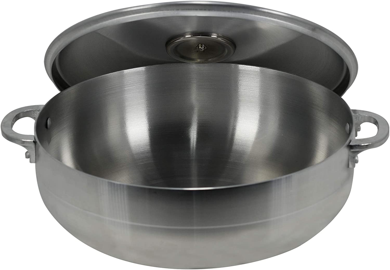 Polished Cast Aluminum Caldero with Lid by Elevate Home Products Traditional Columbian Stainless Steel Stock Pot Dishwasher Safe Silver Dutch Ovens for Cooking and Serving (4.75 Quarts)