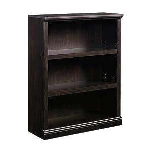 """Sauder 420175 3-Shelf Bookcase, L: 35.28"""" x W: 13.31"""" x H: 43.78"""", Estate Black finish"""