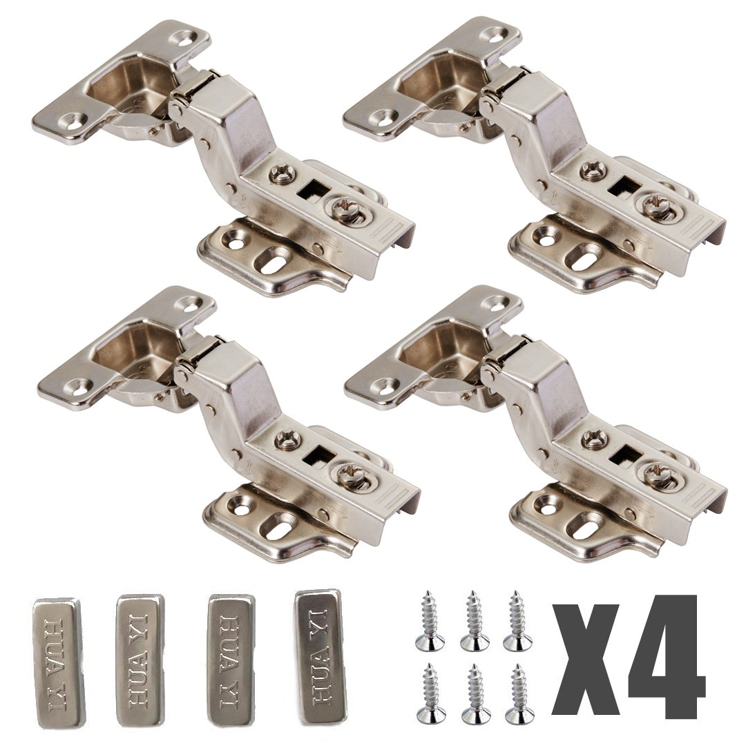 Yarachel Concealed Hinge - 2 Pairs/4 PCS Cabinet Hinges Hydraulic Hinges Cold Steel Rolling Soft Slow Close Stainless Steel Frameless Kitchen Cabinet Door Hinges with Screws (Inset)