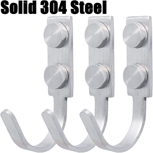 3pcs Polished Stainless Steel Hanger Coat and Hat Hook Wall Mounted