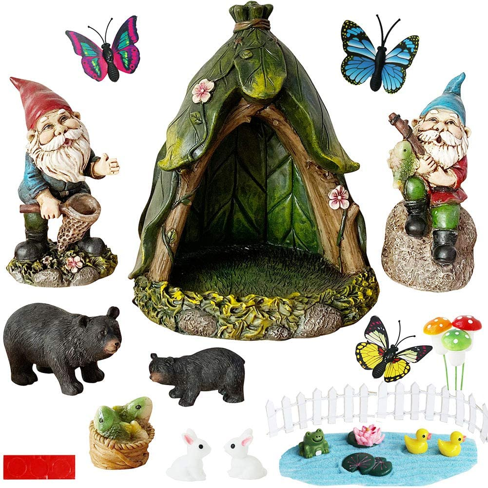 BangBangDa Outdoor Miniature Gnome Garden-Accessories - Fishing Gnome Figurines Statue Set for Fairy Garden Decor for Birthday Gifts Boy Gifts with Fence Rabbit Butterfly Mushroom