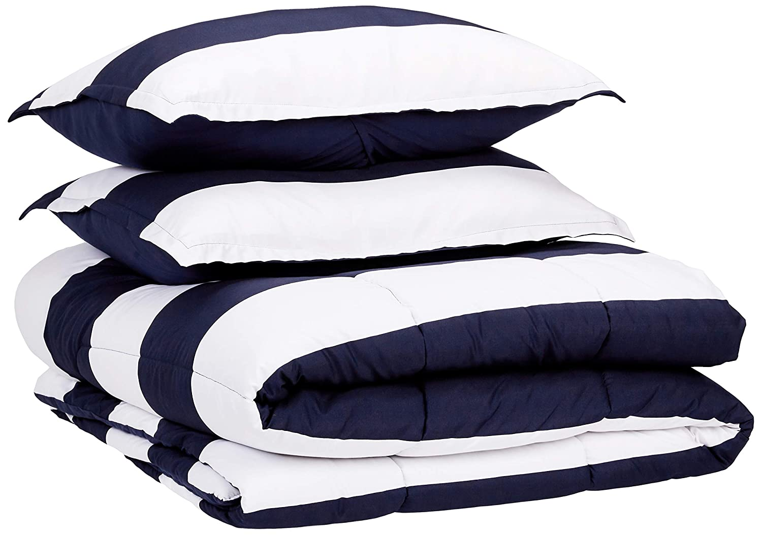 AmazonBasics Comforter Set, King, Navy Rugby Stripes, Microfiber, Ultra-Soft
