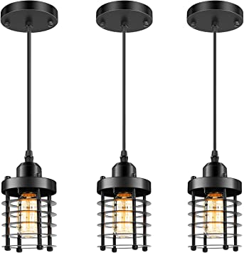 3 Packs Unique Industrial Pendant Lighting, Mini Ceiling Vintage Metal Hanging Lamp Fixture, Adjustable Retro Pendant Light Black for Kitchen Island Counter Dining Room Restaurant Bedroom, E26 Base