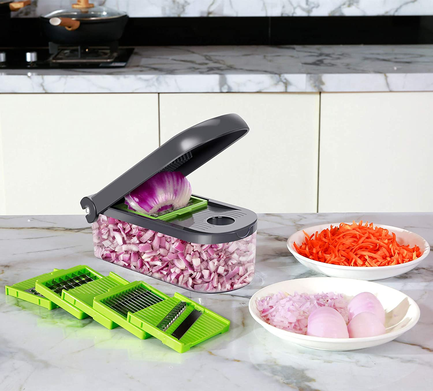ChefHachiro Vegetable Chopper, Mandoline Cucumber Slicer, Onion Cube Cutter Dicer with Container, Easy to Clean Kitchenware combo with Stainless Steel Blades: Kitchen & Dining