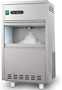 HTH - 44LB/24H Snowflake Crushed Ice Maker Commercial Ice Machine Countertop Stainless Steel Ice Maker Machine Freestand Crusher for Seafood Restaurant Bar Party Coffee Shop Home Use
