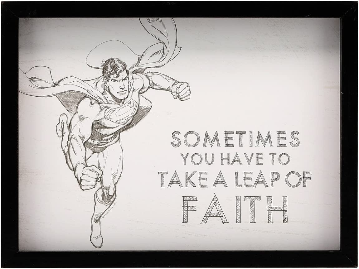 Open Road Brands Superman Leap of Faith Framed Wood Wall Decor