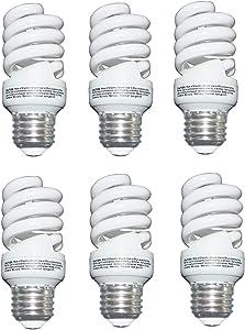 13 Watt Compact Fluorescent Light(60 Watt Equivalent) Soft White 2700K,Spiral Medium Base CFL Light Bulbs (6 Pack)