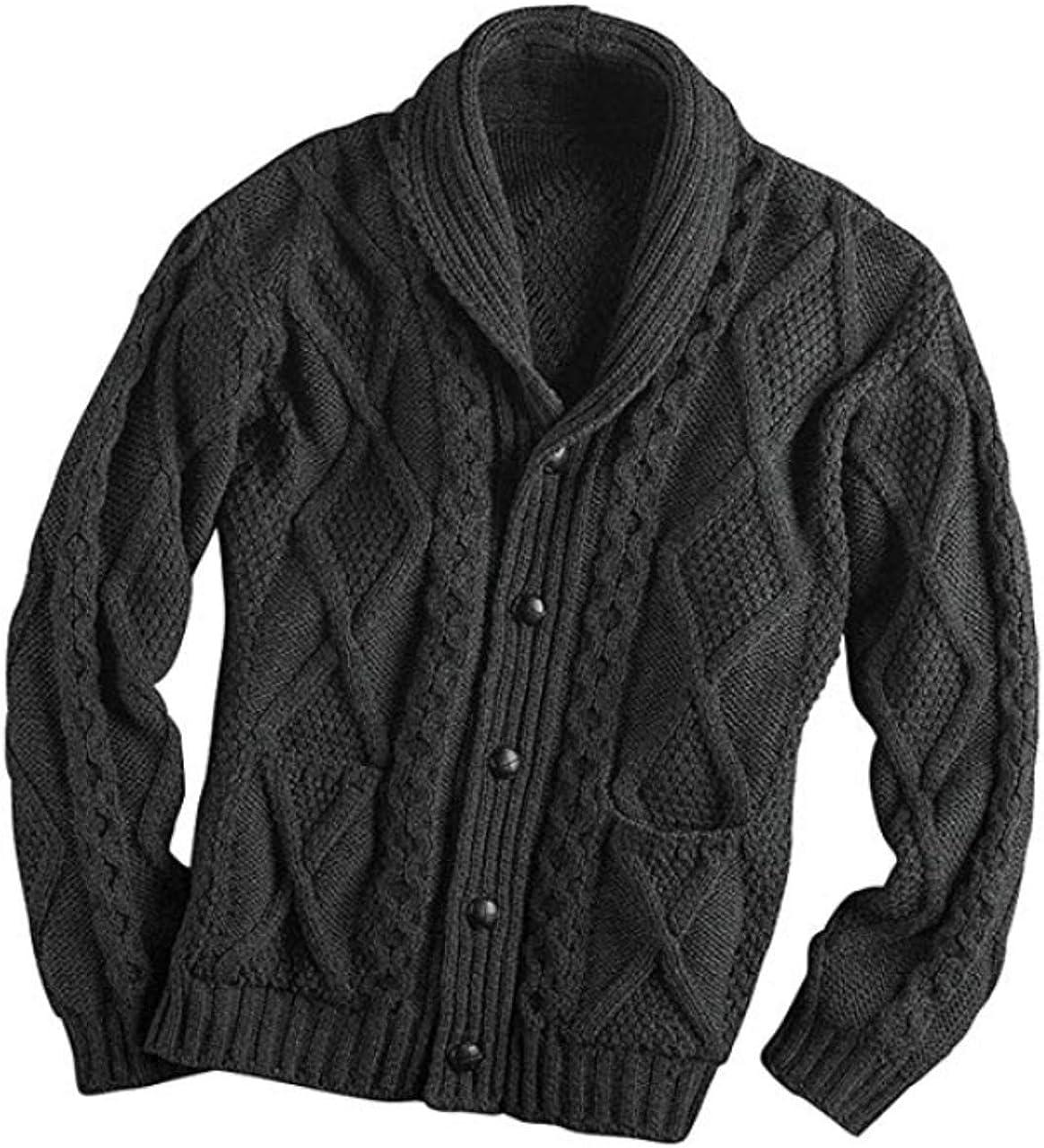 Free P/&P Vintage Pure Wool Aran Collar Jumper Long Sleeve knit knitwear