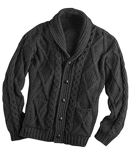 100 Percents Irish Merino Wool Aran Button Men's Sweater By Westend Knitwear by Aran Crafts