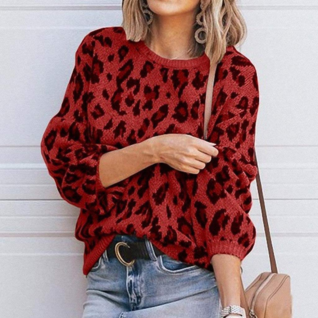 CCOOfhhc Womens Long Sleeve O-Neck Casual T-Shirts Knitted Vintage Leopard Print Sweater Thermal Stretchy Tops Sweatshirt