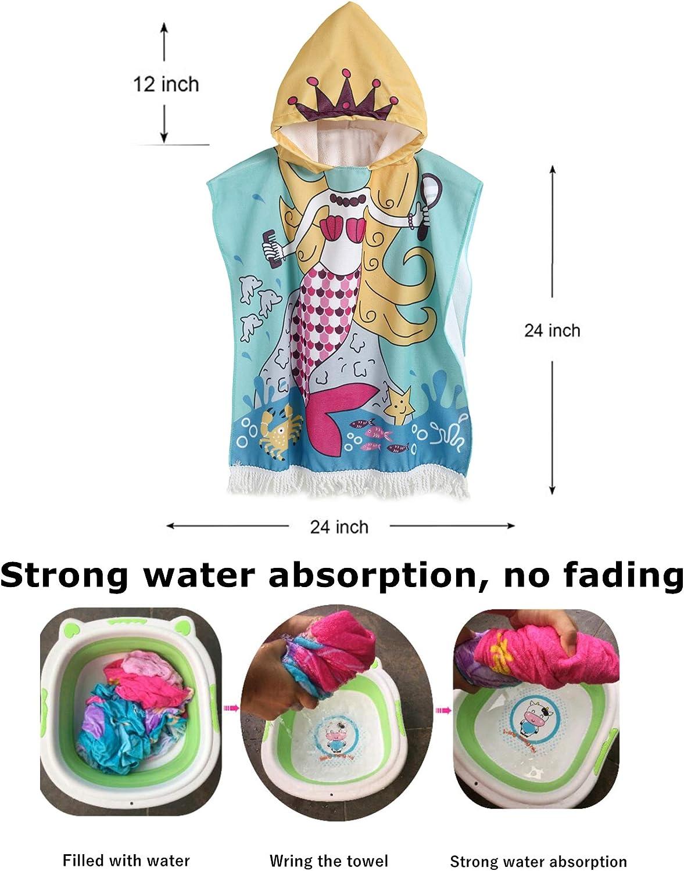 Multi-use for Bath//Shower//Pool//Swim 24 x 48 Bath Pool Swim Poncho Cover-ups Cape Mermaid-3-tassel Hannah Fit Kids Cartoon Hooded Beach Bath Towel for Age 1-7 Years