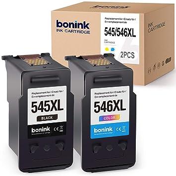 BONINK 2 Compatibles PG-545XL CL-546XL Cartuchos de Tinta para Canon PIXMA MX495 TS3150 TS3151 MG2450 MG2550 MG2550S MG2950 MG3050 MG3051 MG3052 ...