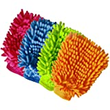 Aeroway Chenille Microfiber Premium Scratch-Free Car Wash Mitt - Double Sided, 4 Pack, 4 Color