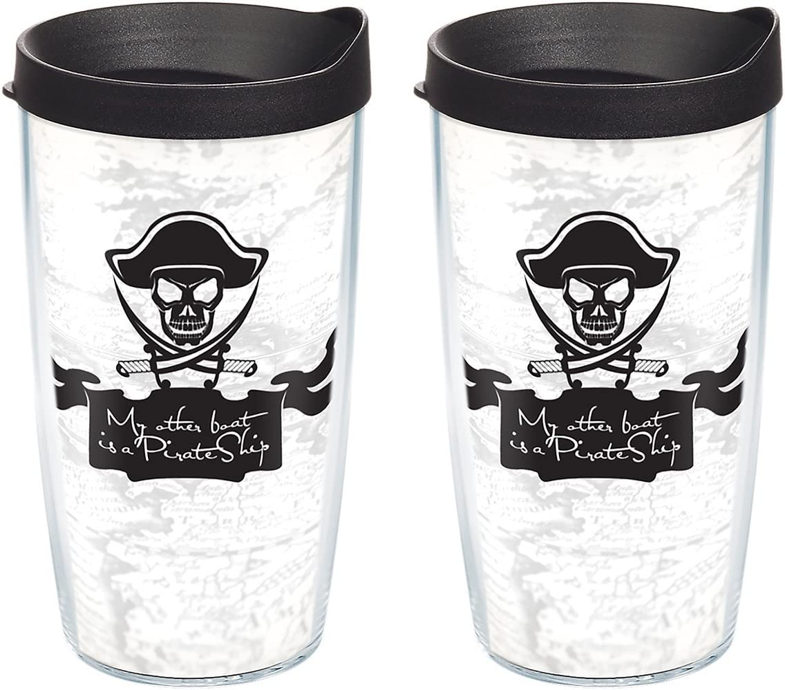 16oz Clear Tervis 1092594 My Other Boat Is a Pirate Ship Insulated Tumbler with Wrap and Black Lid 4 Pack-Boxed