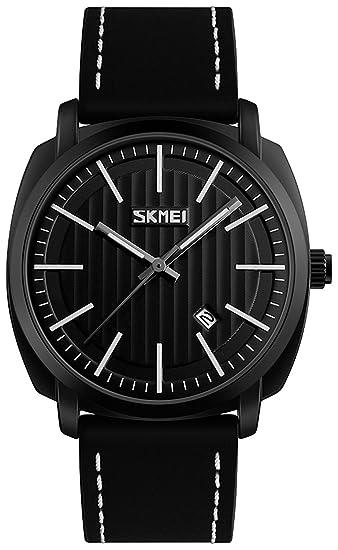 Los hombres de moda Casual Deportes relojes hombres reloj de cuarzo de cuero resistente al agua hombre militar reloj de pulsera: skmei: Amazon.es: Relojes