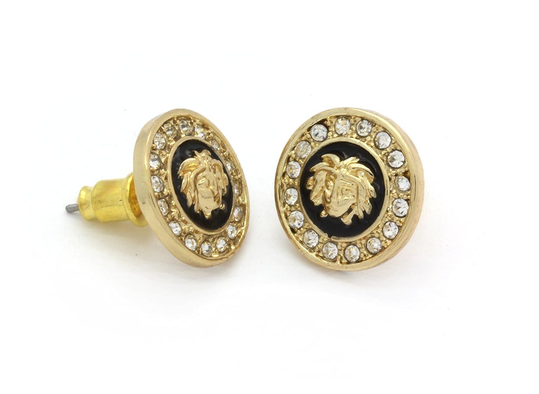 5da4fdb5c3 Amazon.com: Medusa Head Earrings 10mm Gold Tone with Black Medallion Shaped  MB001: Jewelry
