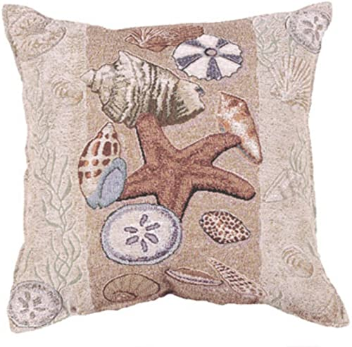 Simply Home Seashell Collection Beachside Decorative Throw Pillow 17 x 17
