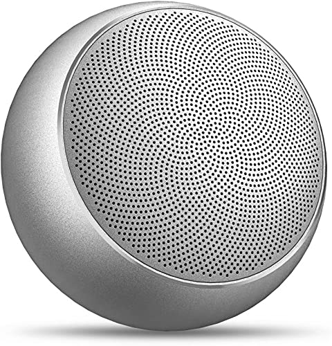 Portable Wireless Bluetooth Speakers,Bopmen Mini Stereo Outdoor Rechargeable Speaker with Mic,TF Card,HD Sound Enhanced Bass,Metal Compact Bluetooth Speaker for iPhone iPad Samsung Silver