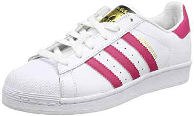 22364af80c8ba adidas Originals Mädchen Adidas Superstar J Foundation B23644 Low-Top, Weiß  Bold Pink/