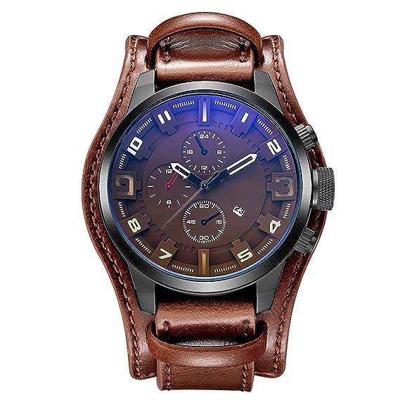 KZKR Hombres clásica reloj Números Romanos FECHA banda de reloj impermeable de piel de color marrón