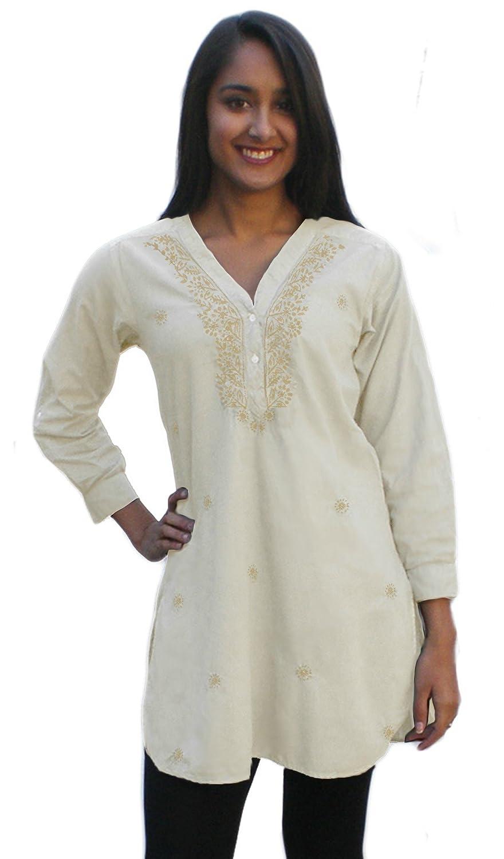 Ayurvastram Pure Cotton, Hand Embroidered Shirt Tunic Top Kurti ...