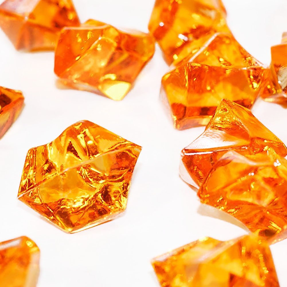 """Custom & Fancy {0.75'' x 1"""" Inch} Approx 50 Pieces/5 oz of """"Table"""" Party Confetti Made of Genuine Acrylic w/ Amber Topaz Gem Color Jewel Tone Sparkling Elegant Shard Scatter Filler Design [Orange]"""