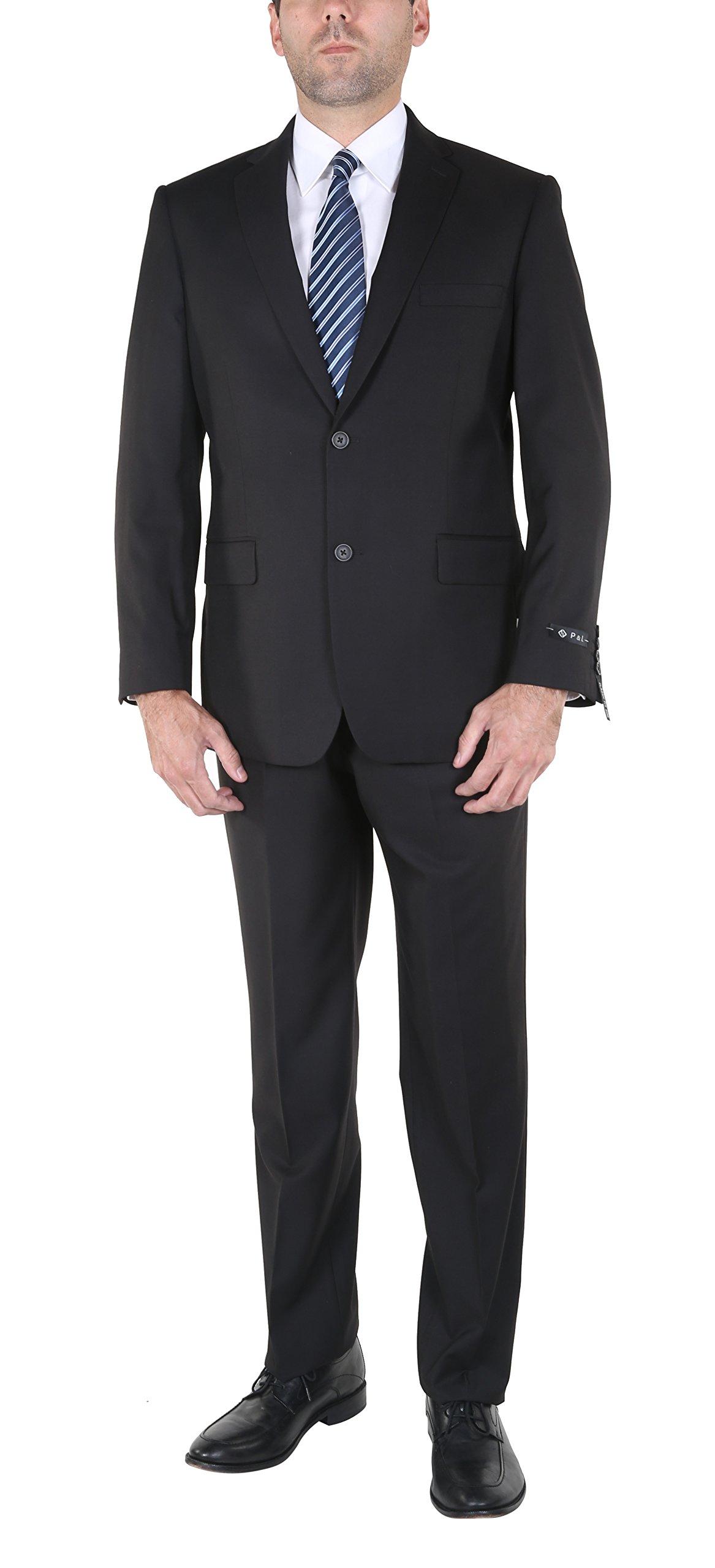 P&L Men's 2-Piece Classic Fit Office 2 Button Suit Jacket & Pleated Pants Set, Black, 52 Regular / 46 Waist