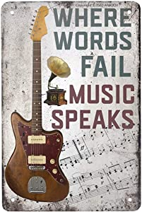 ANJOOY Vintage Metal Guitar Tin Sign - Where Words Fail Music Speaks -Musical Bar Pub Cafe Wall Kitchen Bathroo Poster Karaoke Retro Decor Art 8x12 inch