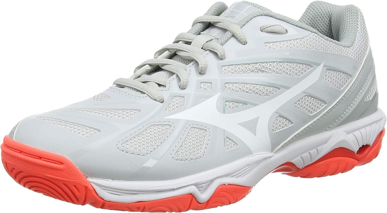 Mizuno Women's Wave Hurricane 3 Volleyball Shoes, Grey (Glaciergray/Wht/Fcoral 60), 4.5 (37 EU)