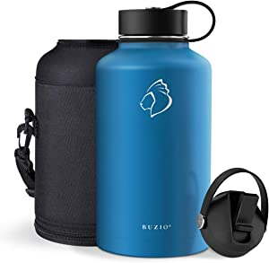 BUZIO Insulated Water Bottle with Straw Lid and Flex Cap, 32oz, 40oz, 64oz, 87oz Modern Double Vacuum Stainless Steel Water Flask, Cold for 48 Hrs Hot for 24 Hrs Simple Thermo Canteen Mug,BPA-Free