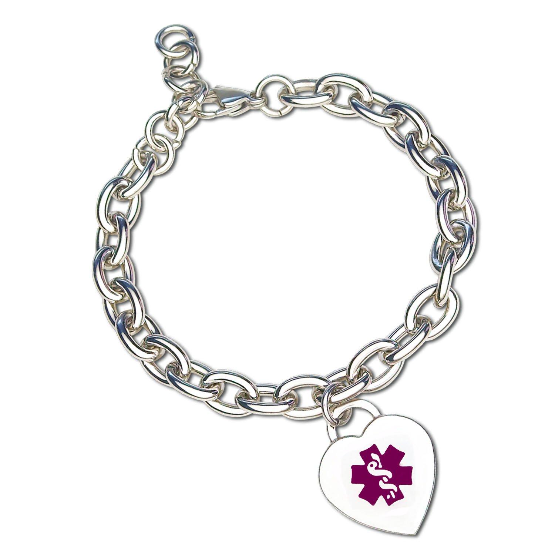 Divoti Custom Engraved Heart Charm 316L Medical Alert Bracelet for Women - Adjustable-Purple