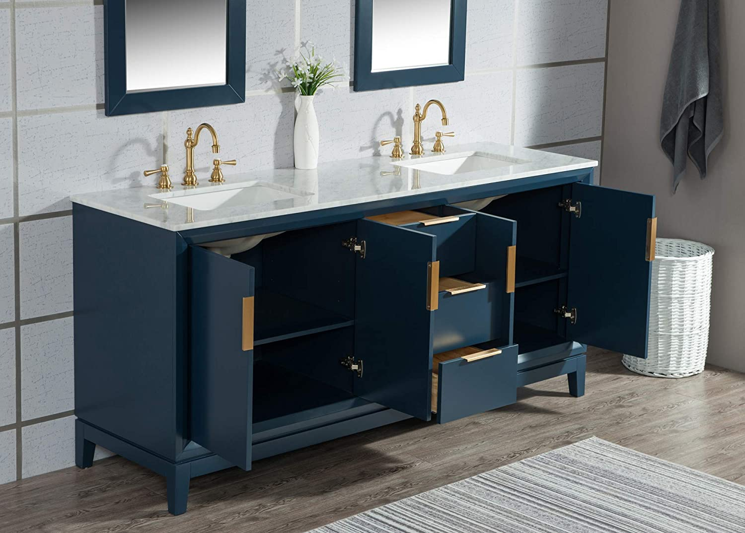 Carrara Marble Counter Top Transitional Freestanding Hardwood Bathroom Vanity With Sinks And Cabinet And Gold Handles Elizabeth Collection Water Creation 72 Double Sink Vanity In Monarch Blue Tools Home Improvement Bathroom