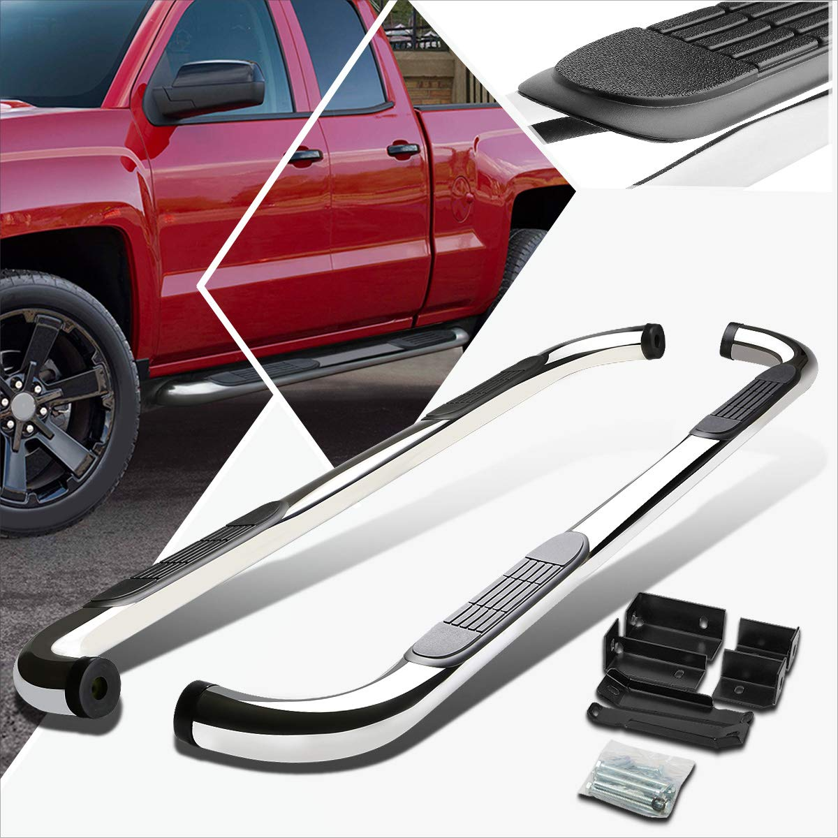 3 Inches Chrome Running Board Side Step Nerf Bar Compatible with Chevy Silverado//GMC Sierra Ext Cab 99-16