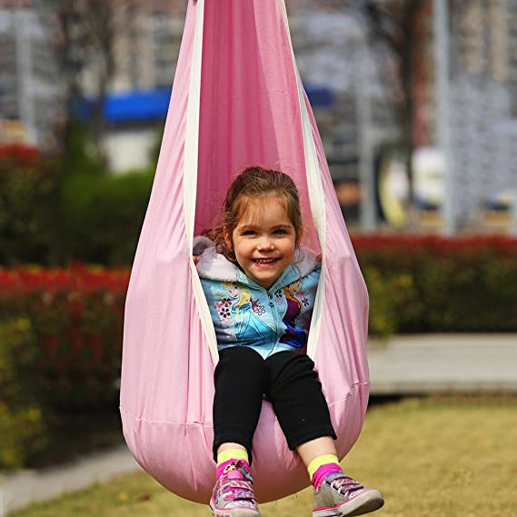 Yodeace Child Hammock Swing Chair Durable Cotton Canvas Pod Swing Kids Hanging Chair Swing Seat with Extral 59//1.5m Strengthened Adjustable Hanging Strap