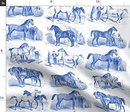 Amazon Com Spoonflower Equestrian Toile Fabric Blue Delft Vintage
