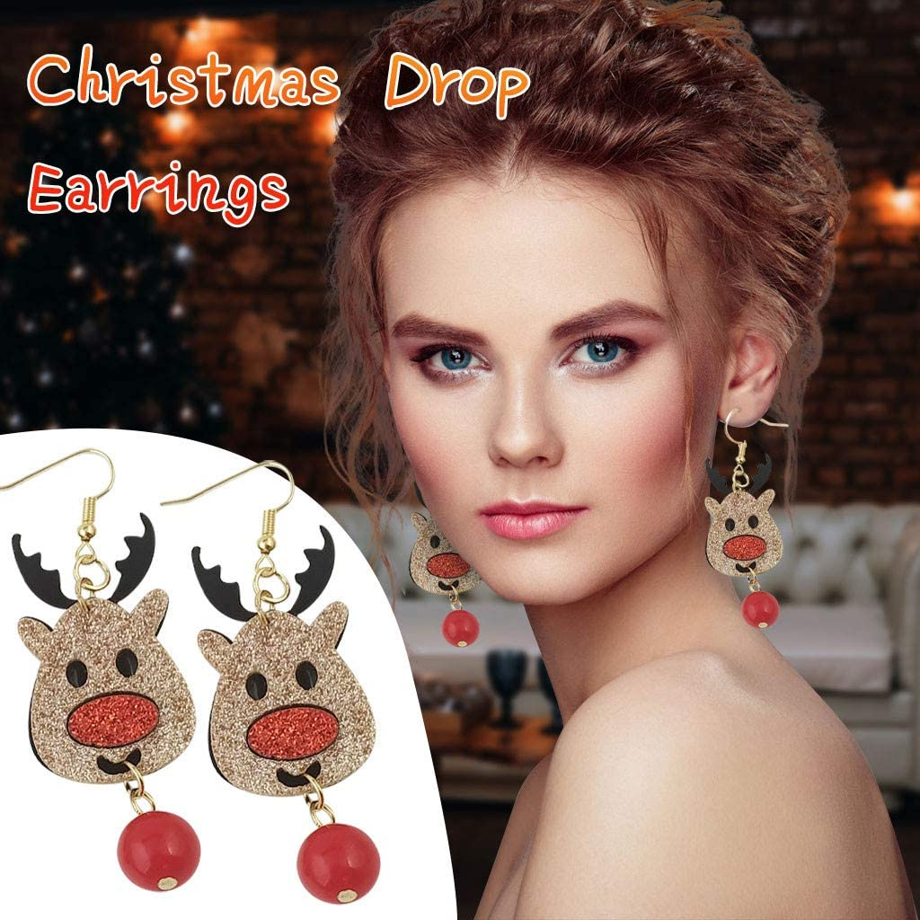 Christmas Tree Hook Drop Earring Dangle Earring Charm Eardrop Jewelry Xmas Party Earrings for Women Christmas Holiday New Year Party Decorations Supplies Valentines Gift