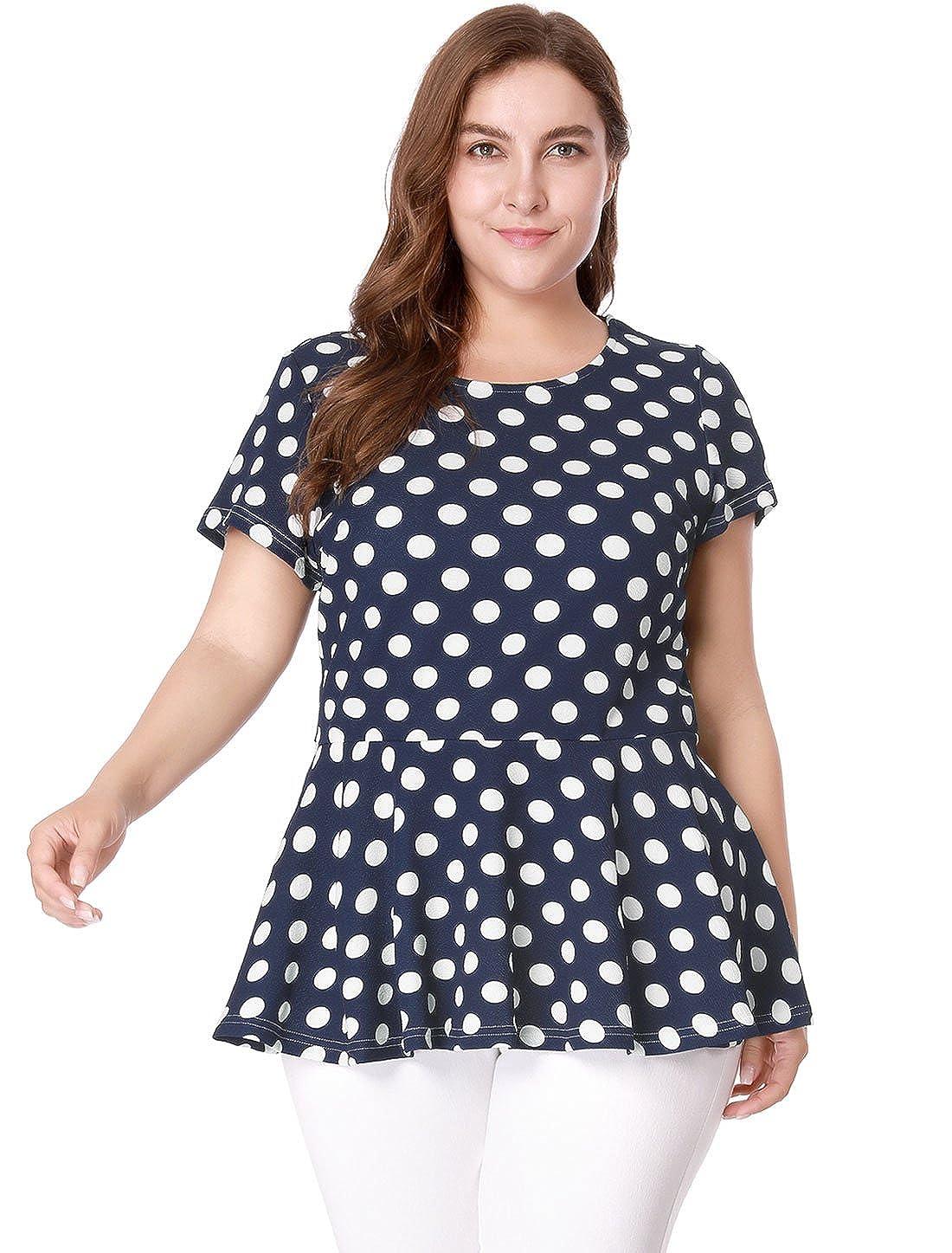 5d2fbb655f32f uxcell Agnes Orinda Women s Plus Size Polka Dot Short Sleeve Summer Peplum  Top  Amazon.co.uk  Clothing