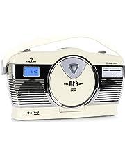 auna RCD-70 • Radio FM • Diseño Retro • Nostálgico • USB • MP3 • Reproductor de CD con MP3 • Reproducción programable • Reproducción aleatoria • Pantalla LCD • Salida de auriculares • Portátil • Crema