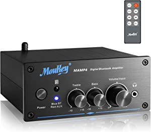 Moukey Bluetooth 5.0 Stereo Audio Amplifier Receiver - 2 Channel, Mini Hi-Fi Class D Integrated Amp 2.0 CH for Home Speakers 100W x 2 with Bass, Treble Remote Control, Power Supply, Monitoring - MAMP4