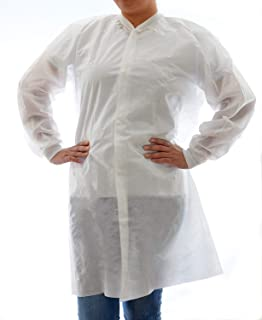 4ee9e0f314a3 Dealmed Disposable SMS Lab Coat, No Pockets, White, Extra Large, 10 Pack